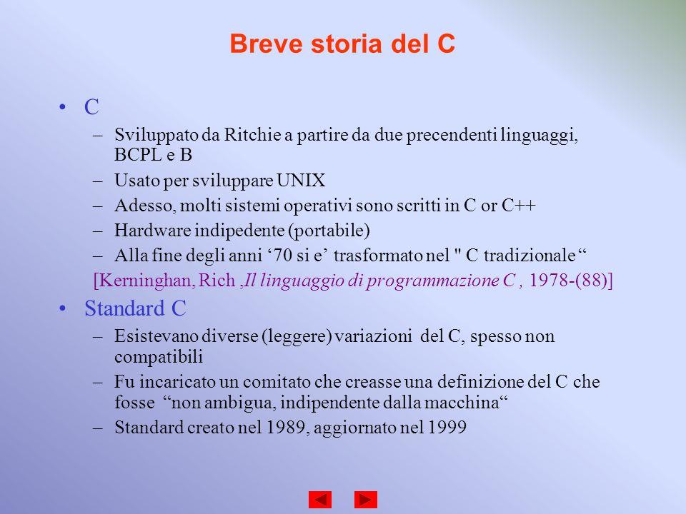 Breve storia del C C –Sviluppato da Ritchie a partire da due precendenti linguaggi, BCPL e B –Usato per sviluppare UNIX –Adesso, molti sistemi operati