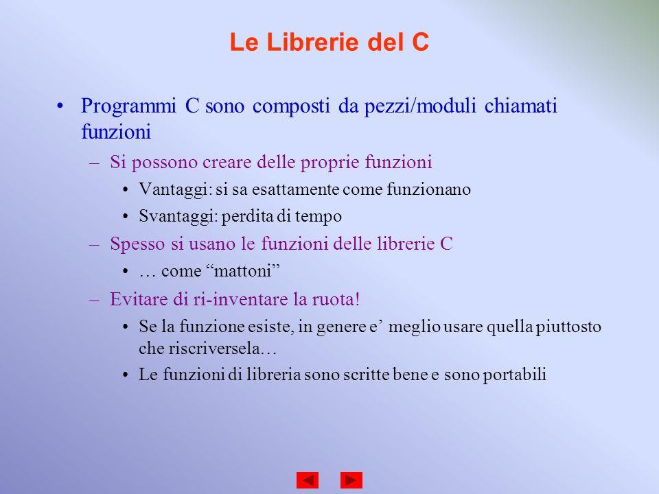 Le Librerie del C Programmi C sono composti da pezzi/moduli chiamati funzioni –Si possono creare delle proprie funzioni Vantaggi: si sa esattamente co