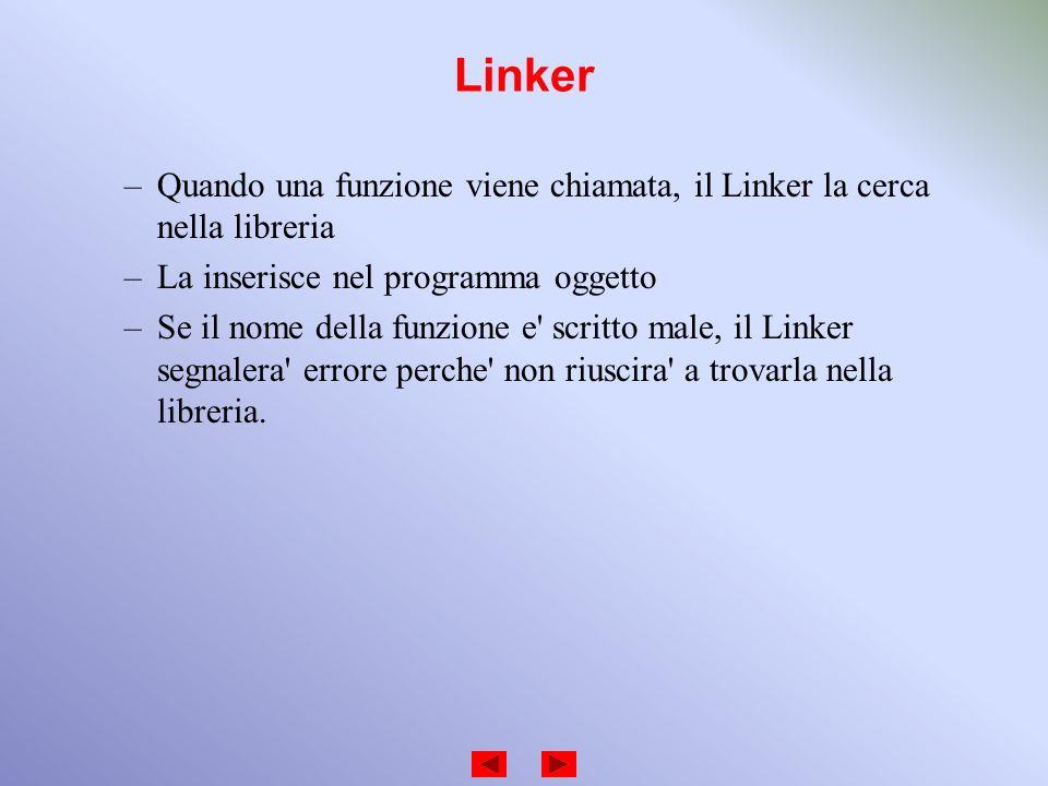 Linker –Quando una funzione viene chiamata, il Linker la cerca nella libreria –La inserisce nel programma oggetto –Se il nome della funzione e' scritt