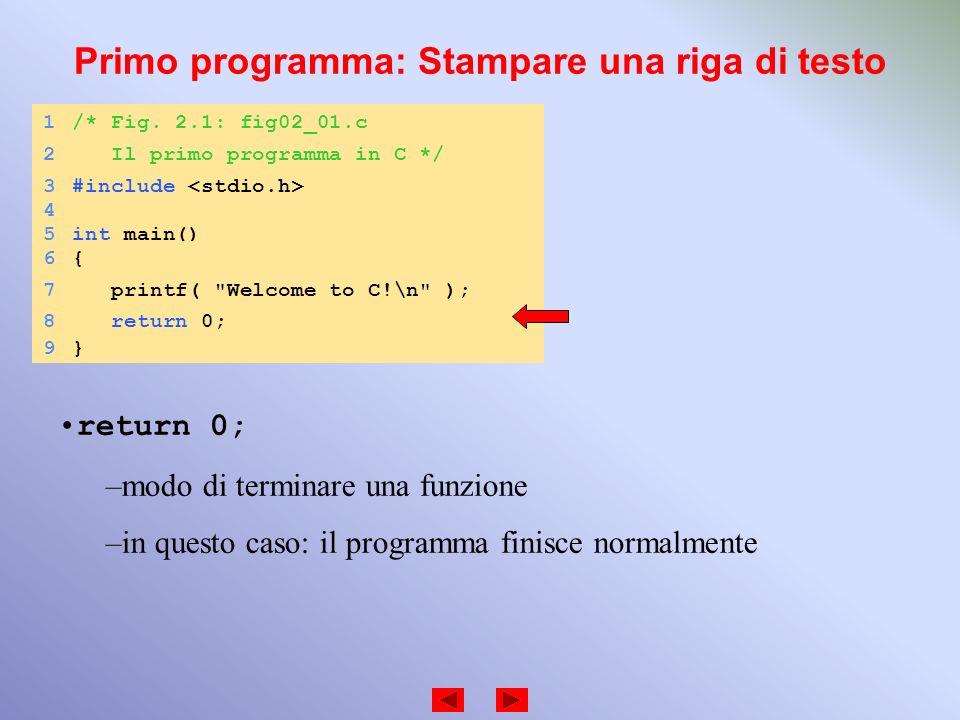 Primo programma: Stampare una riga di testo 1/* Fig. 2.1: fig02_01.c 2 Il primo programma in C */ 3#include 4 5int main() 6{6{ 7 printf(