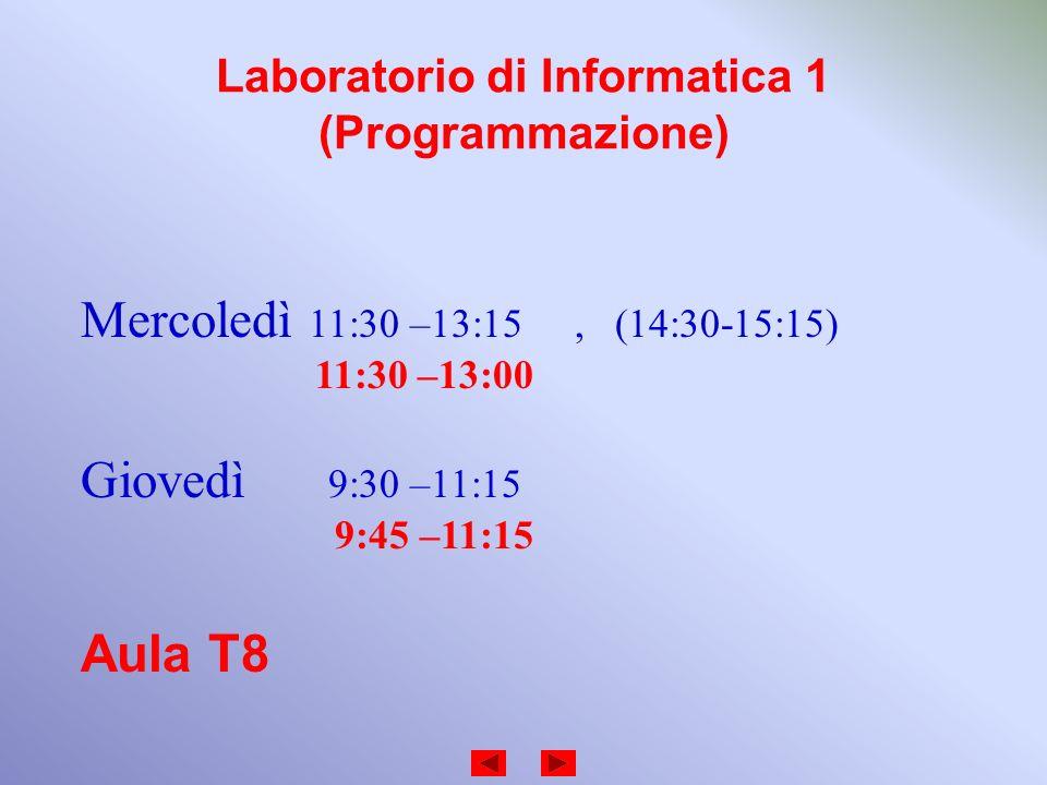 Laboratorio di Informatica 1 (Programmazione) Mercoledì 11:30 –13:15, (14:30-15:15) 11:30 –13:00 Giovedì 9:30 –11:15 9:45 –11:15 Aula T8