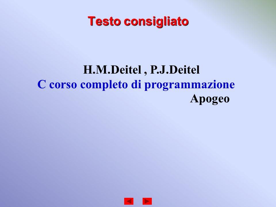 Testo consigliato H.M.Deitel, P.J.Deitel C corso completo di programmazione Apogeo