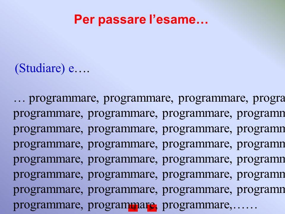 Per passare lesame… (Studiare) e…. … programmare, programmare, programmare, programmare, programmare, programmare, programmare, programmare, programma