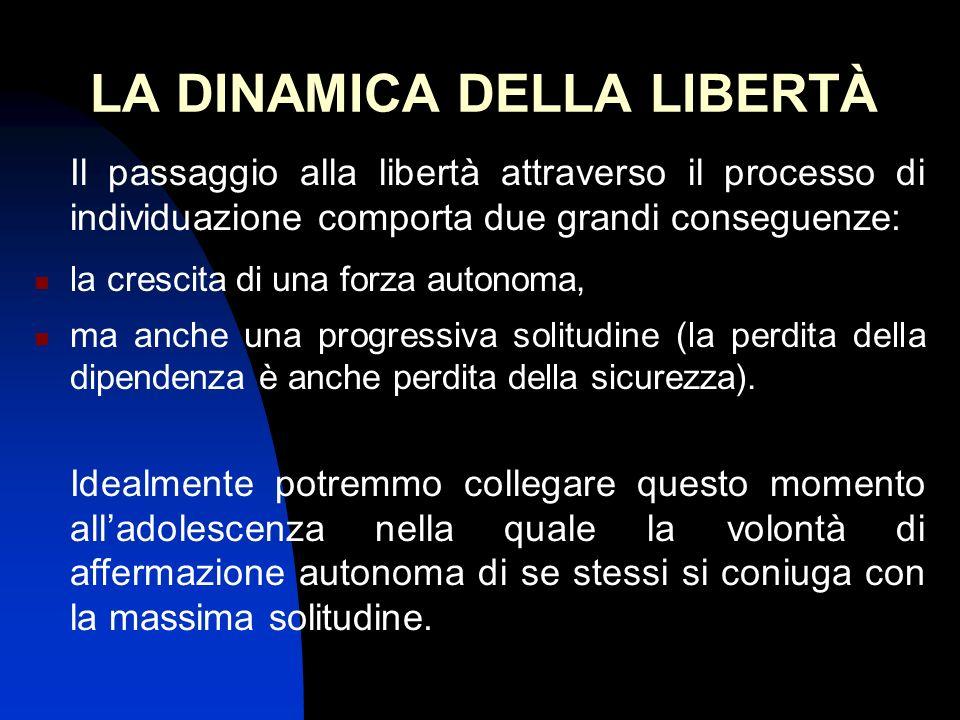 LA DINAMICA DELLA LIBERTÀ Il passaggio alla libertà attraverso il processo di individuazione comporta due grandi conseguenze: la crescita di una forza