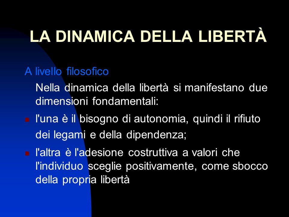 LA DINAMICA DELLA LIBERTÀ A livello filosofico Nella dinamica della libertà si manifestano due dimensioni fondamentali: l una è il bisogno di autonomia, quindi il rifiuto dei legami e della dipendenza; l altra è l adesione costruttiva a valori che l individuo sceglie positivamente, come sbocco della propria libertà