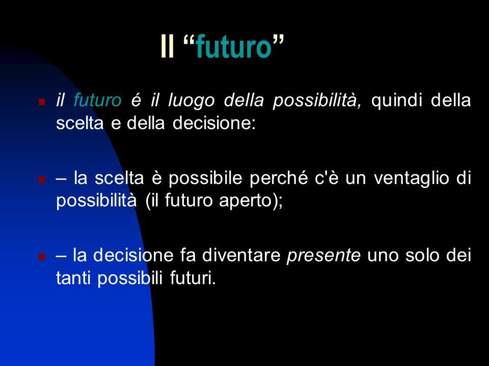 Il futuro il futuro é il luogo della possibilità, quindi della scelta e della decisione: – la scelta è possibile perché c è un ventaglio di possibilità (il futuro aperto); – la decisione fa diventare presente uno solo dei tanti possibili futuri.