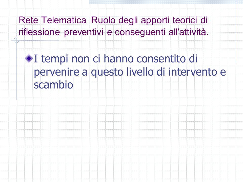 Rete Telematica Ruolo degli apporti teorici di riflessione preventivi e conseguenti all'attività. I tempi non ci hanno consentito di pervenire a quest