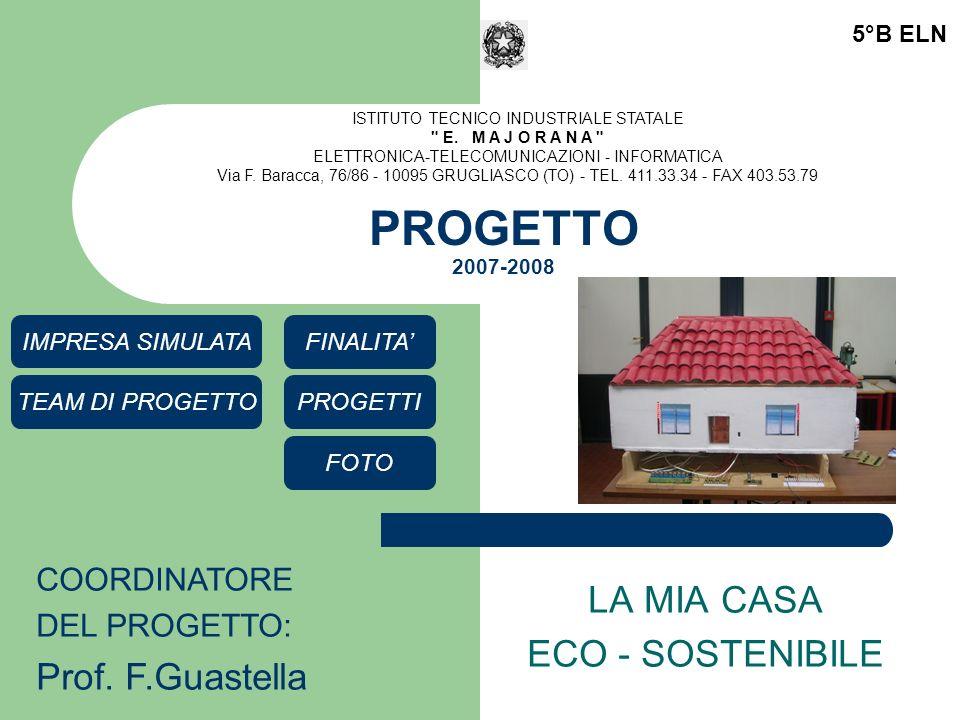 PROGETTO 2007-2008 LA MIA CASA ECO - SOSTENIBILE 5°B ELN COORDINATORE DEL PROGETTO: Prof.