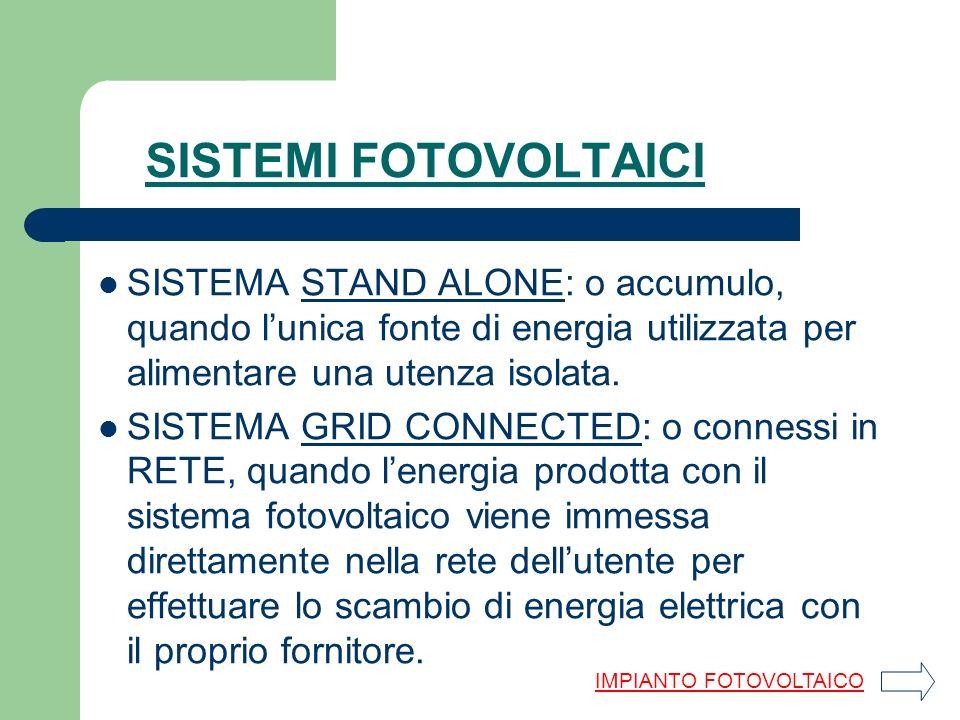 SISTEMA STAND ALONE: o accumulo, quando lunica fonte di energia utilizzata per alimentare una utenza isolata.STAND ALONE SISTEMA GRID CONNECTED: o con