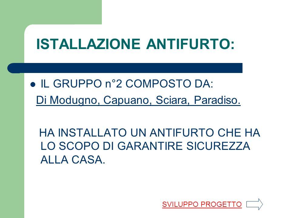 ISTALLAZIONE ANTIFURTO: IL GRUPPO n°2 COMPOSTO DA: Di Modugno, Capuano, Sciara, Paradiso.