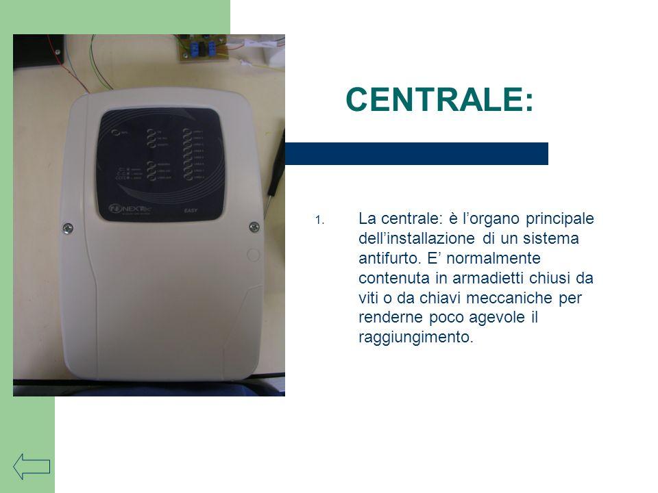 1. La centrale: è lorgano principale dellinstallazione di un sistema antifurto. E normalmente contenuta in armadietti chiusi da viti o da chiavi mecca