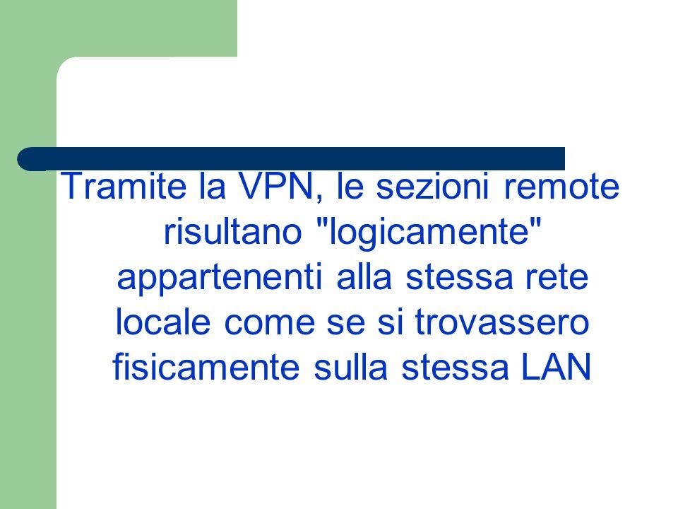 Tramite la VPN, le sezioni remote risultano