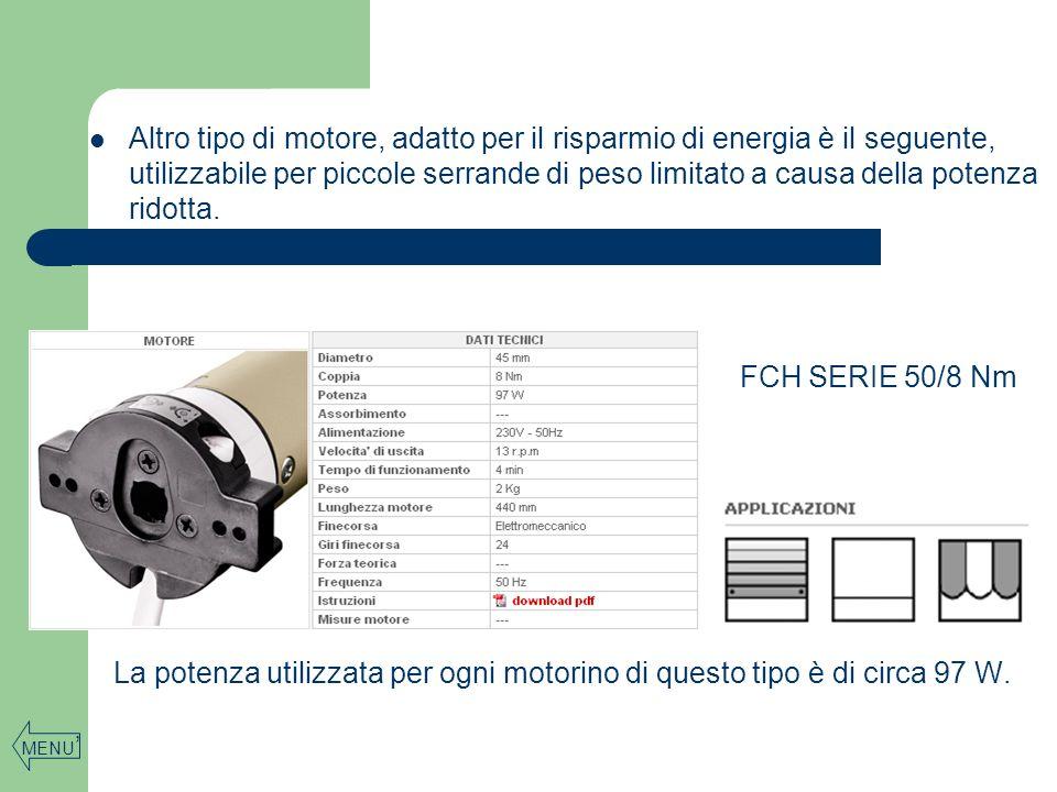 Altro tipo di motore, adatto per il risparmio di energia è il seguente, utilizzabile per piccole serrande di peso limitato a causa della potenza ridot