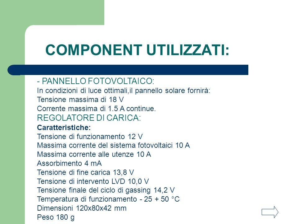 COMPONENT UTILIZZATI: - PANNELLO FOTOVOLTAICO: In condizioni di luce ottimali,il pannello solare fornirà: Tensione massima di 18 V Corrente massima di 1.5 A continue.