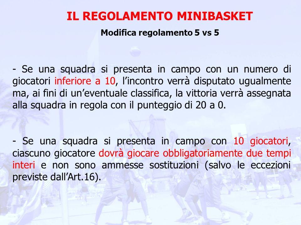 IL REGOLAMENTO MINIBASKET Modifica regolamento 5 vs 5 - Se una squadra si presenta in campo con 11 giocatori, 5 dovranno giocare obbligatoriamente due tempi interi mentre gli altri 6 POTRANNO ALTERNARSI IN CAMPO CON EVENTUALI SOSTITUZIONI STABILITE DALLISTRUTTORE ALLINTERNO DEL TEMPO DI GIOCO PREVISTO.