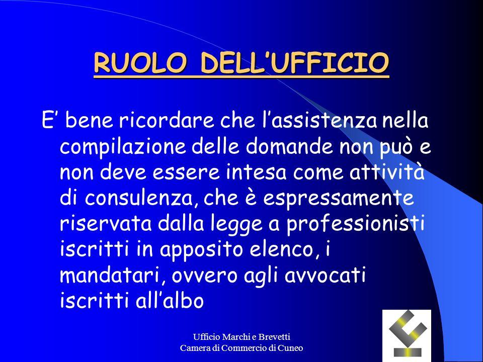 Ufficio Marchi e Brevetti Camera di Commercio di Cuneo RUOLO DELLUFFICIO E bene ricordare che lassistenza nella compilazione delle domande non può e n