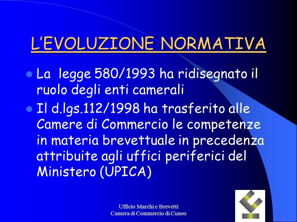 Ufficio Marchi e Brevetti Camera di Commercio di Cuneo LEVOLUZIONE NORMATIVA La legge 580/1993 ha ridisegnato il ruolo degli enti camerali Il d.lgs.11