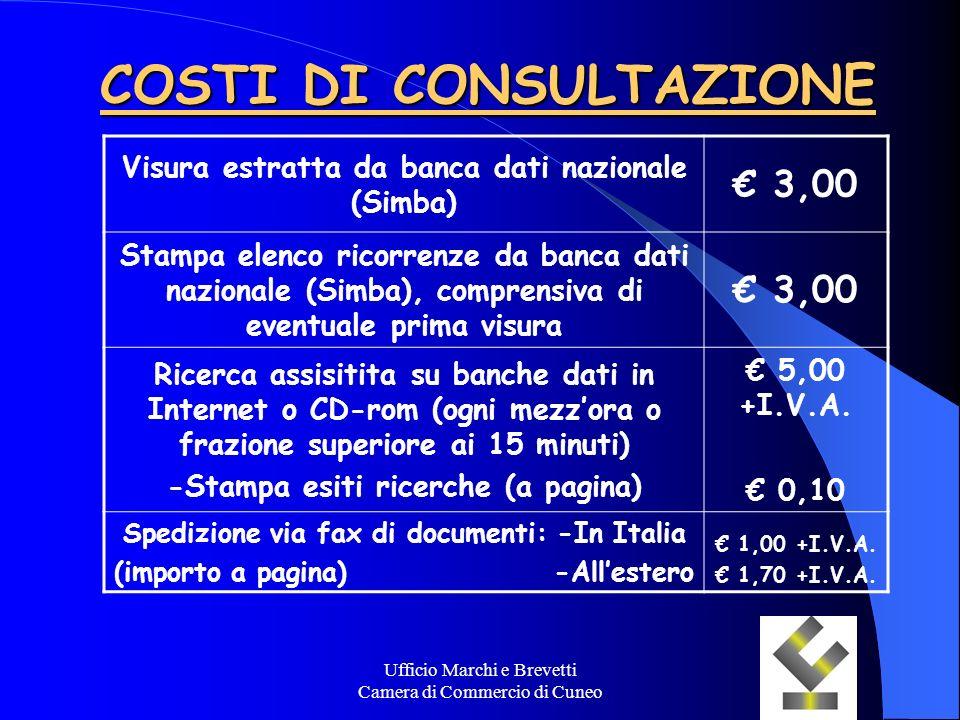 Ufficio Marchi e Brevetti Camera di Commercio di Cuneo COSTI DI CONSULTAZIONE Visura estratta da banca dati nazionale (Simba) 3,00 Stampa elenco ricor