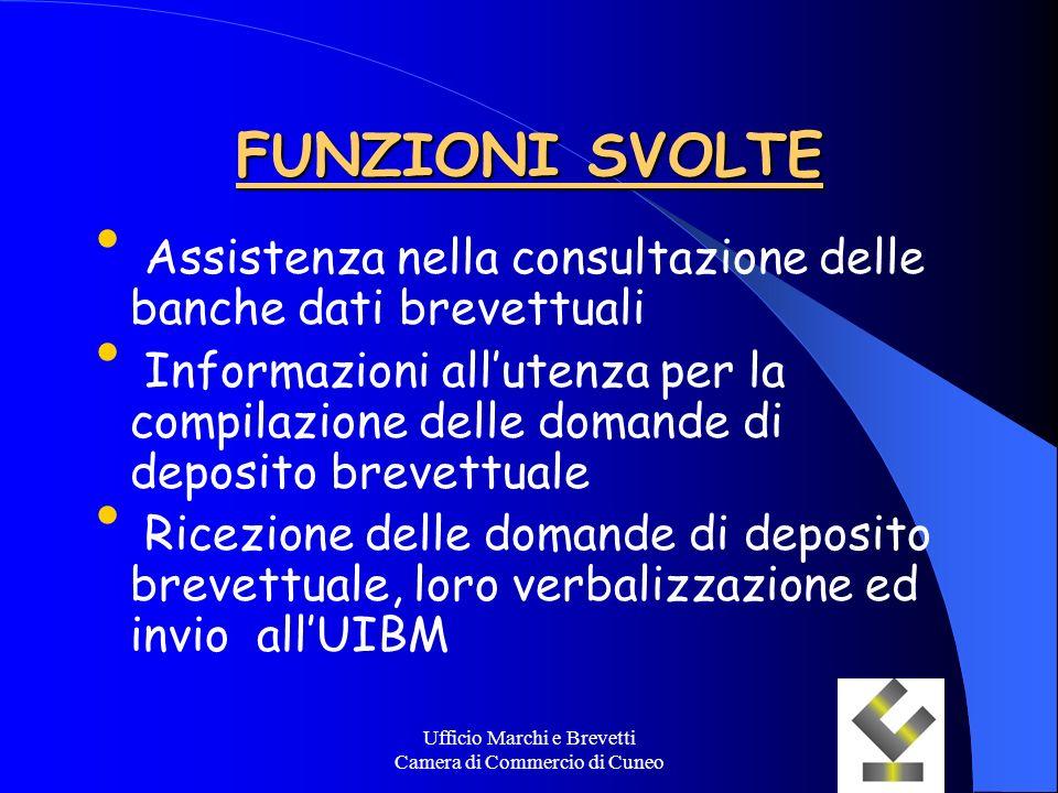 Ufficio Marchi e Brevetti Camera di Commercio di Cuneo FUNZIONI SVOLTE Assistenza nella consultazione delle banche dati brevettuali Informazioni allut