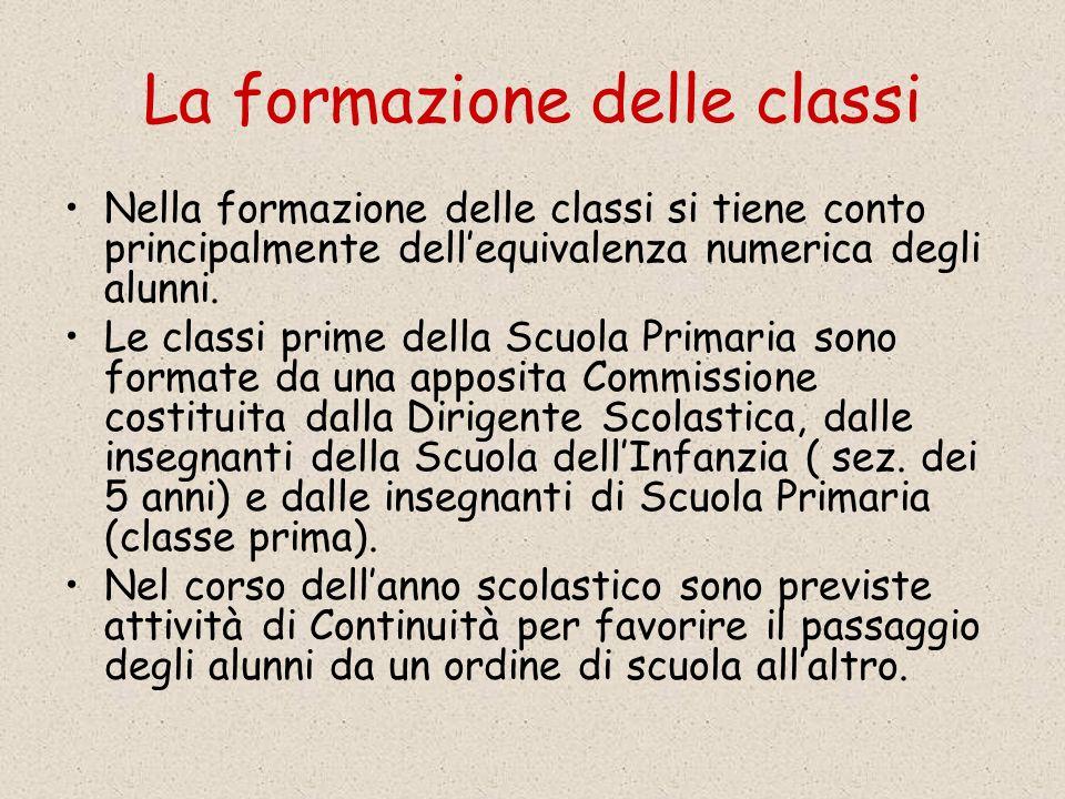 La formazione delle classi Nella formazione delle classi si tiene conto principalmente dellequivalenza numerica degli alunni.