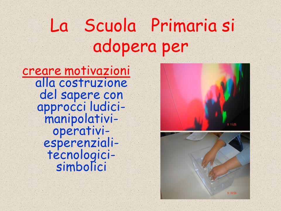 La Scuola Primaria si adopera per creare motivazioni alla costruzione del sapere con approcci ludici- manipolativi- operativi- esperenziali- tecnologici- simbolici
