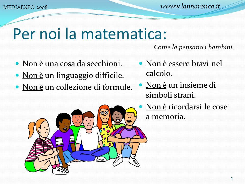 Per noi la matematica: Non è essere bravi nel calcolo. Non è un insieme di simboli strani. Non è ricordarsi le cose a memoria. Come la pensano i bambi