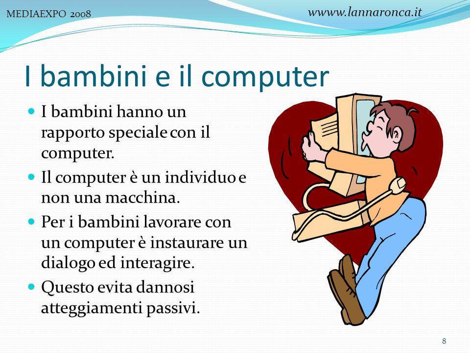 I bambini e il computer I bambini hanno un rapporto speciale con il computer. Il computer è un individuo e non una macchina. Per i bambini lavorare co