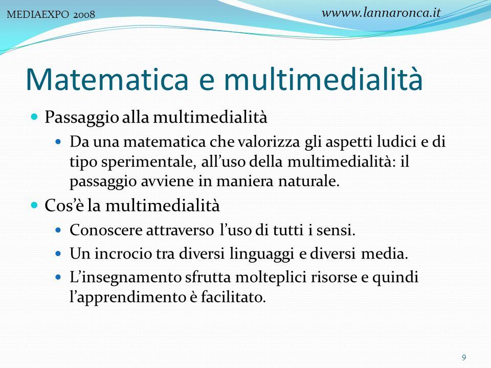 Matematica e multimedialità Passaggio alla multimedialità Da una matematica che valorizza gli aspetti ludici e di tipo sperimentale, alluso della mult