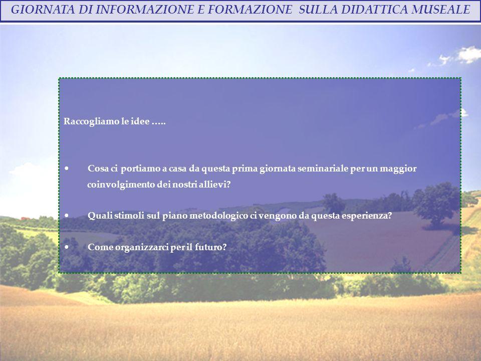 GIORNATA DI INFORMAZIONE E FORMAZIONE SULLA DIDATTICA MUSEALE Annalisa Bindi - 28 ottobre 2009 Raccogliamo le idee …..