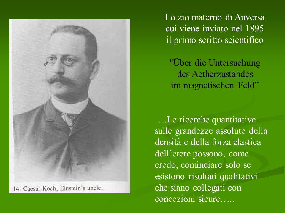 Lo zio materno di Anversa cui viene inviato nel 1895 il primo scritto scientifico