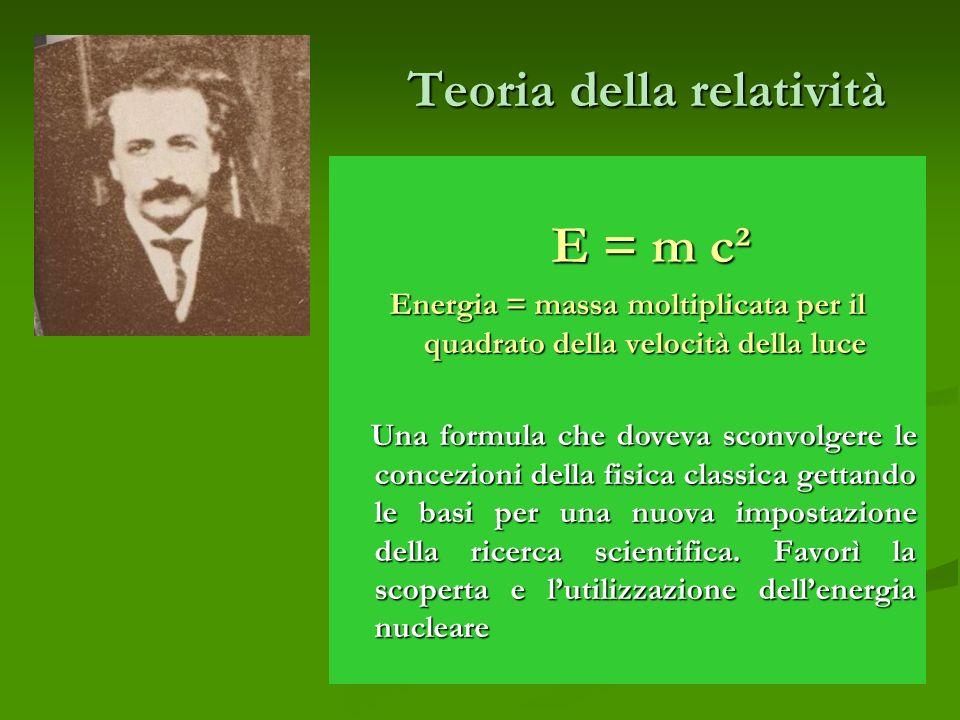 Teoria della relatività E = m c² E = m c² Energia = massa moltiplicata per il quadrato della velocità della luce Una formula che doveva sconvolgere le