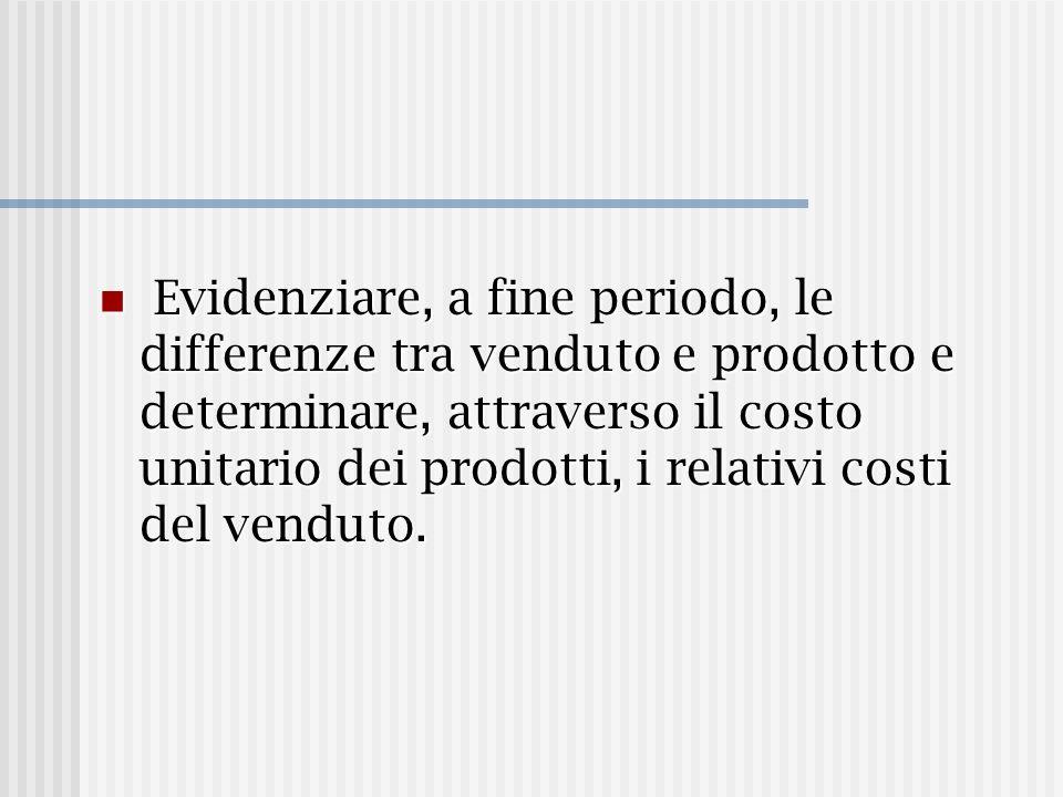 Evidenziare, a fine periodo, le differenze tra venduto e prodotto e determinare, attraverso il costo unitario dei prodotti, i relativi costi del vendu