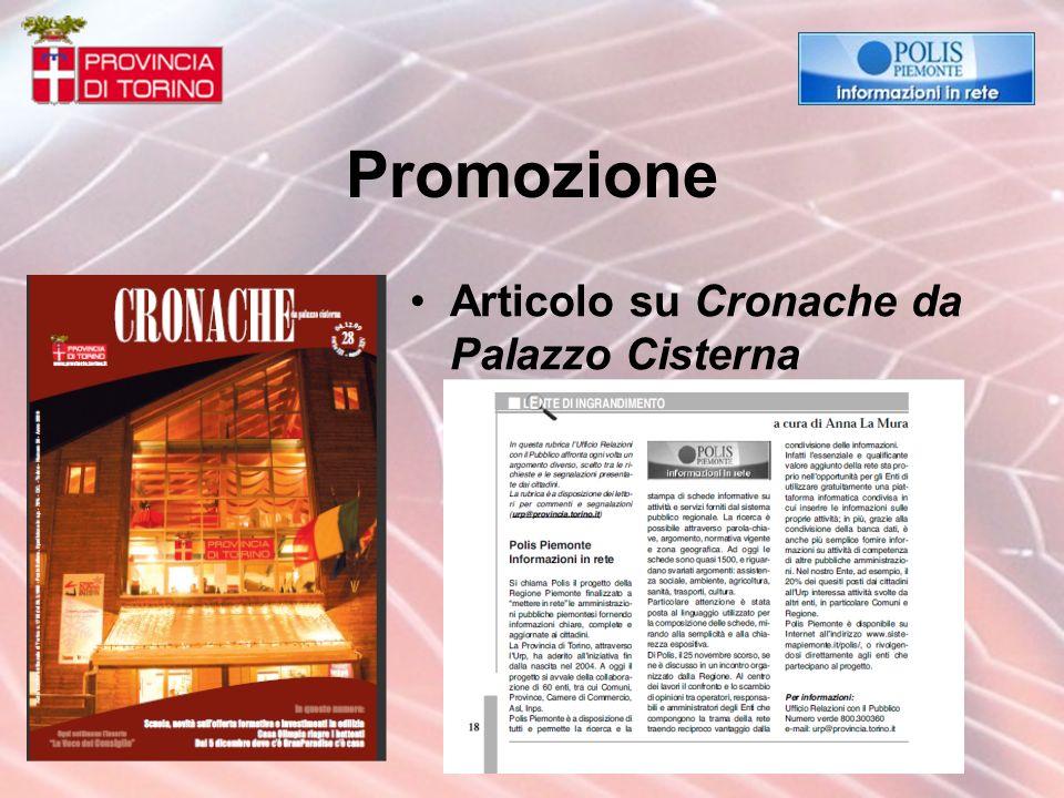 Promozione Articolo su Cronache da Palazzo Cisterna
