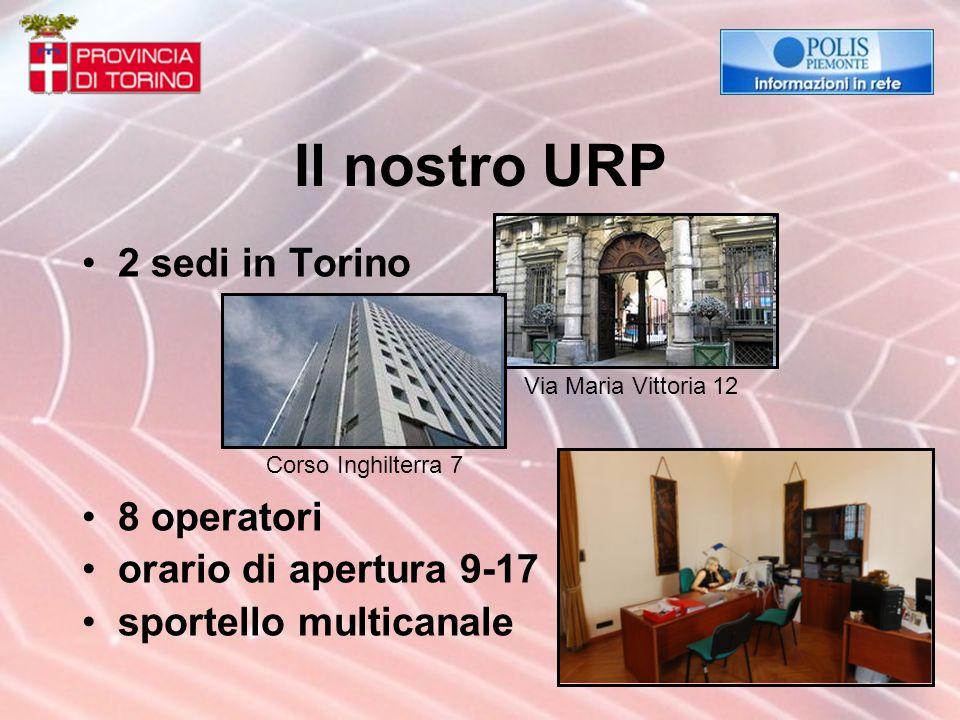 Il nostro URP 2 sedi in Torino 8 operatori orario di apertura 9-17 sportello multicanale Corso Inghilterra 7 Via Maria Vittoria 12