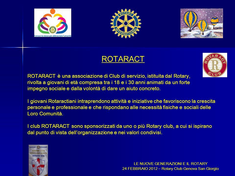 LE NUOVE GENERAZIONI E IL ROTARY 24 FEBBRAIO 2012 – Rotary Club Genova San Giorgio ROTARACT ROTARACT è una associazione di Club di servizio, istituita