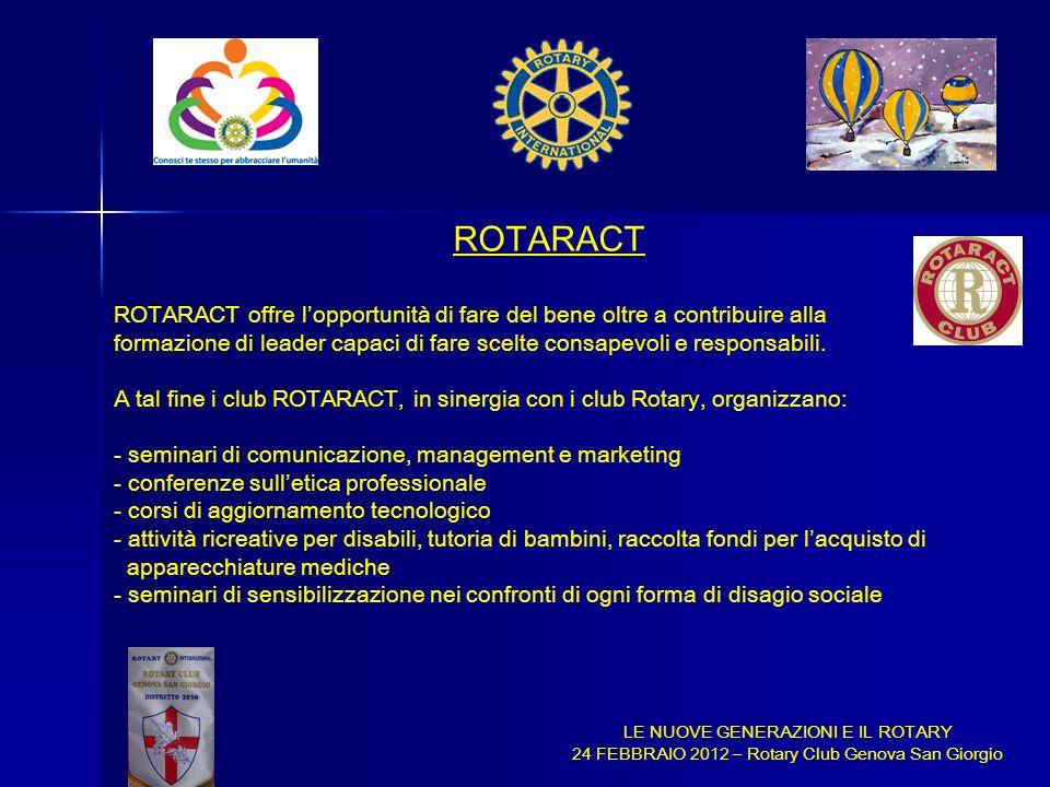 LE NUOVE GENERAZIONI E IL ROTARY 24 FEBBRAIO 2012 – Rotary Club Genova San Giorgio ROTARACT ROTARACT offre lopportunità di fare del bene oltre a contr