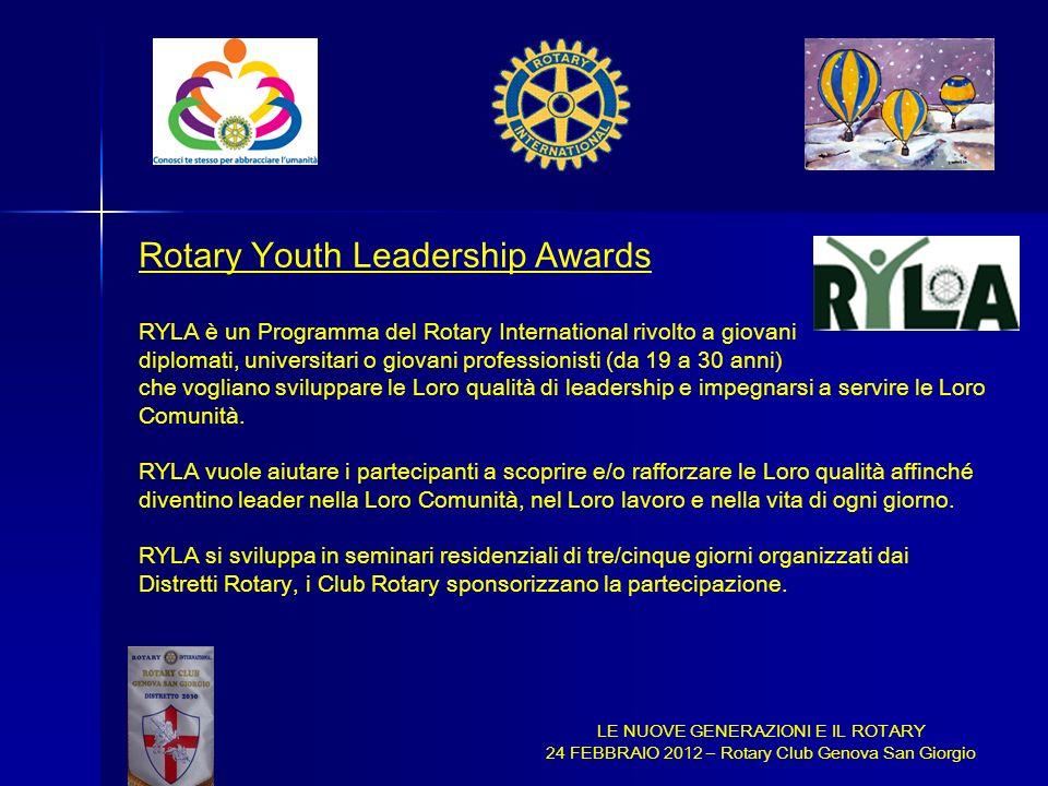 LE NUOVE GENERAZIONI E IL ROTARY 24 FEBBRAIO 2012 – Rotary Club Genova San Giorgio Rotary Youth Leadership Awards RYLA è un Programma del Rotary Inter