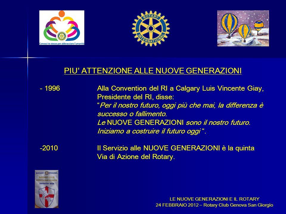 LE NUOVE GENERAZIONI E IL ROTARY 24 FEBBRAIO 2012 – Rotary Club Genova San Giorgio PIU ATTENZIONE ALLE NUOVE GENERAZIONI - 1996Alla Convention del RI