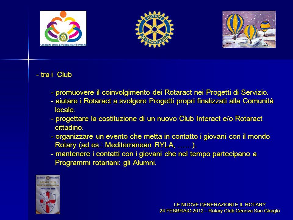 LE NUOVE GENERAZIONI E IL ROTARY 24 FEBBRAIO 2012 – Rotary Club Genova San Giorgio - tra i Club - promuovere il coinvolgimento dei Rotaract nei Proget