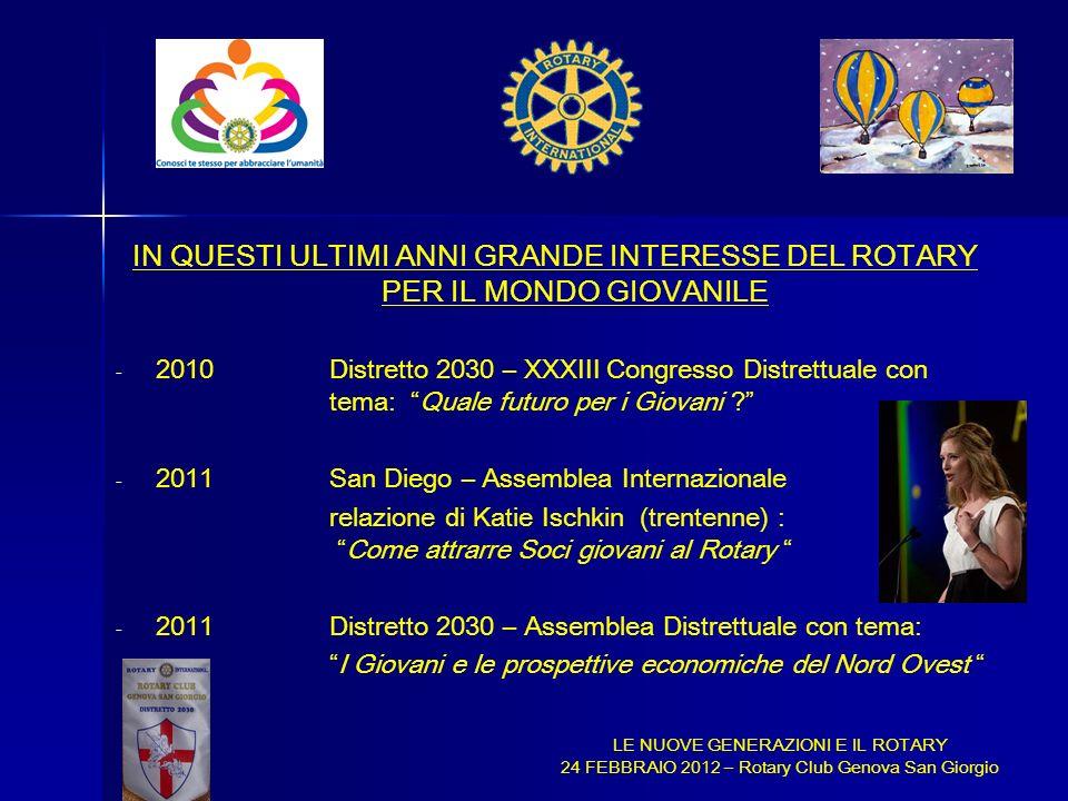 IN QUESTI ULTIMI ANNI GRANDE INTERESSE DEL ROTARY PER IL MONDO GIOVANILE - - 2010 Distretto 2030 – XXXIII Congresso Distrettuale con tema: Quale futur