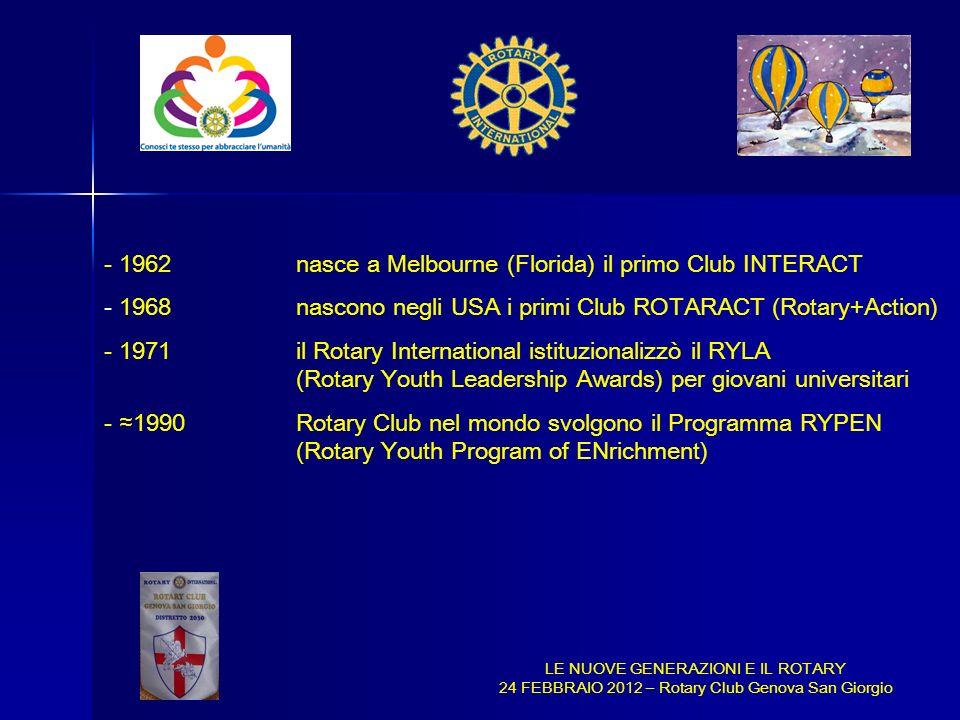 - 1962nasce a Melbourne (Florida) il primo Club INTERACT - 1968nascono negli USA i primi Club ROTARACT (Rotary+Action) - 1971il Rotary International i