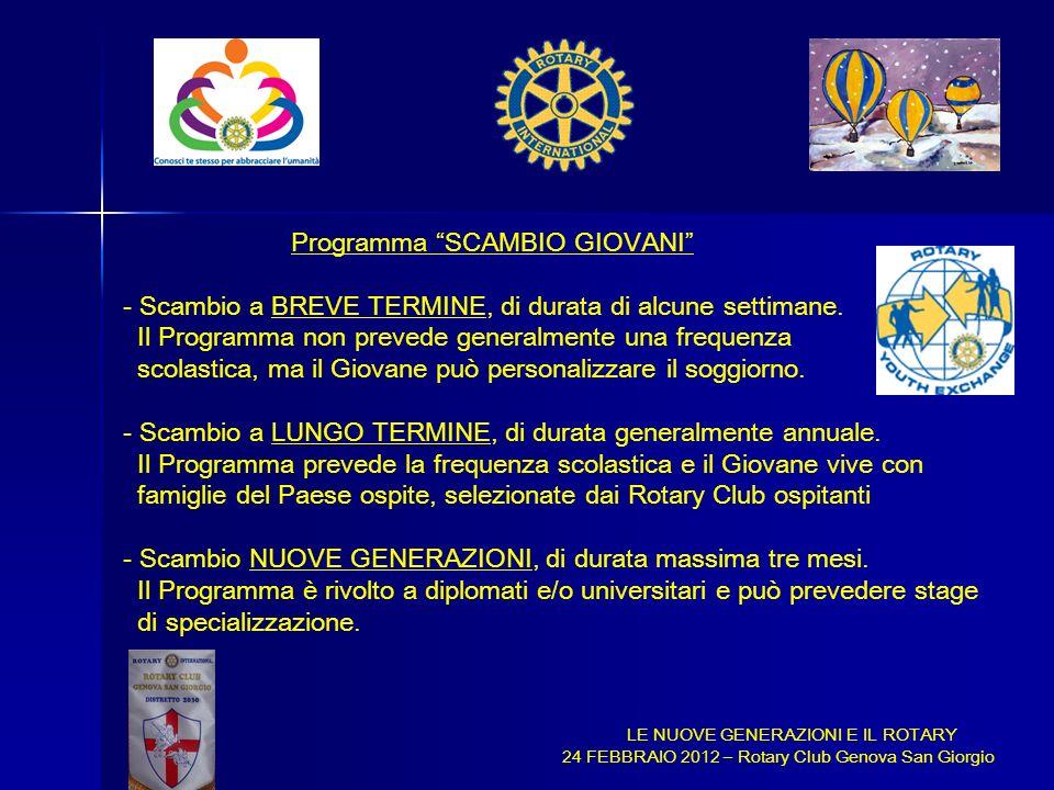 Programma SCAMBIO GIOVANI - Scambio a BREVE TERMINE, di durata di alcune settimane. Il Programma non prevede generalmente una frequenza scolastica, ma