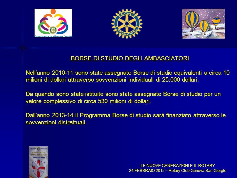 LE NUOVE GENERAZIONI E IL ROTARY 24 FEBBRAIO 2012 – Rotary Club Genova San Giorgio BORSE DI STUDIO DEGLI AMBASCIATORI Nellanno 2010-11 sono state asse