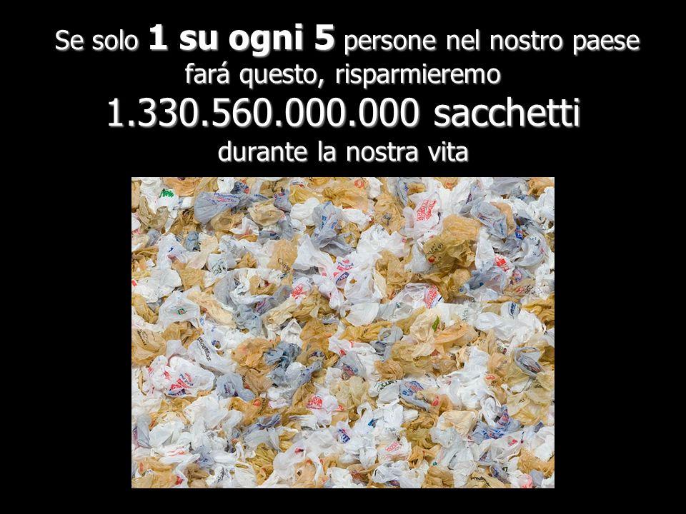 Se solo 1 su ogni 5 persone nel nostro paese fará questo, risparmieremo 1.330.560.000.000 sacchetti durante la nostra vita Se solo 1 su ogni 5 persone nel nostro paese fará questo, risparmieremo 1.330.560.000.000 sacchetti durante la nostra vita