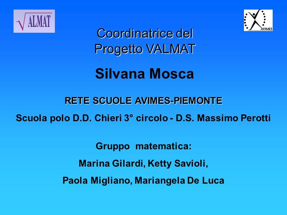 Coordinatrice del Progetto VALMAT Silvana Mosca Gruppo matematica: Marina Gilardi, Ketty Savioli, Paola Migliano, Mariangela De Luca RETE SCUOLE AVIME