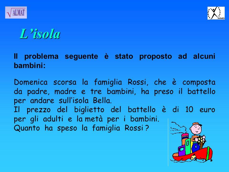 Il problema seguente è stato proposto ad alcuni bambini: Domenica scorsa la famiglia Rossi, che è composta da padre, madre e tre bambini, ha preso il