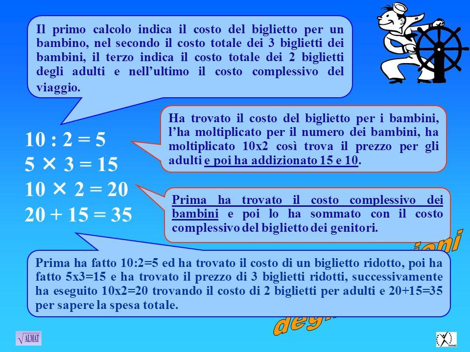 10 : 2 = 5 5 3 = 15 10 2 = 20 20 + 15 = 35 Il primo calcolo indica il costo del biglietto per un bambino, nel secondo il costo totale dei 3 biglietti