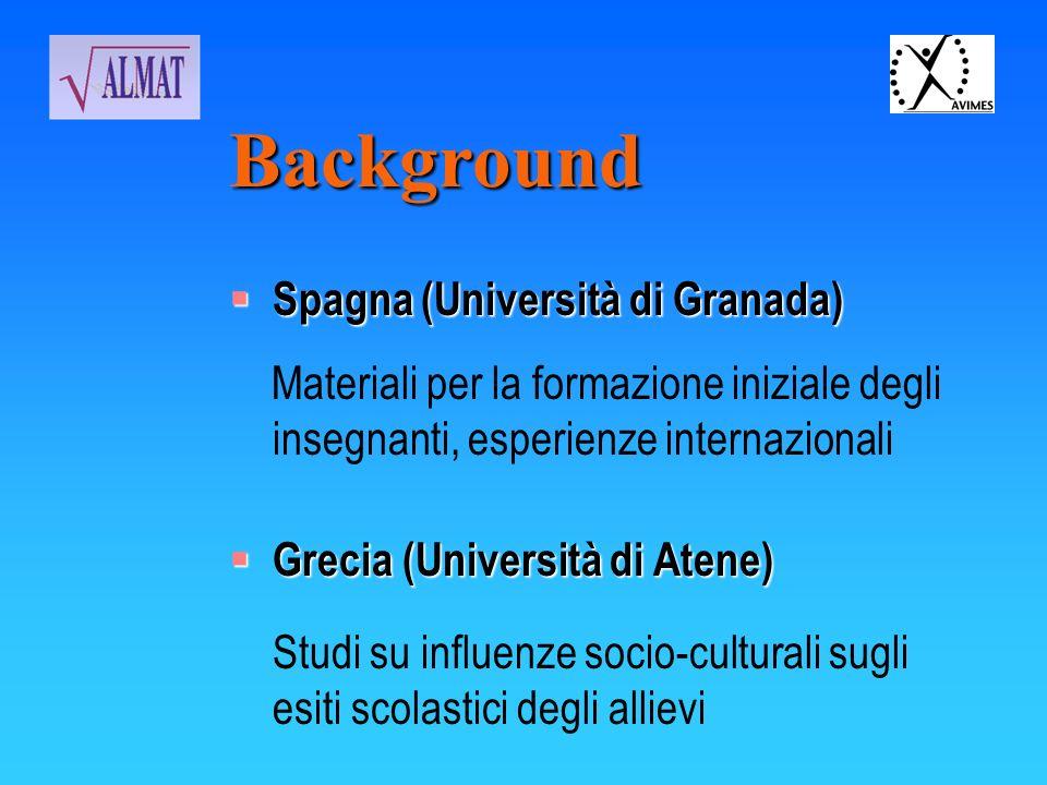 Background Spagna (Università di Granada) Spagna (Università di Granada) Materiali per la formazione iniziale degli insegnanti, esperienze internazion