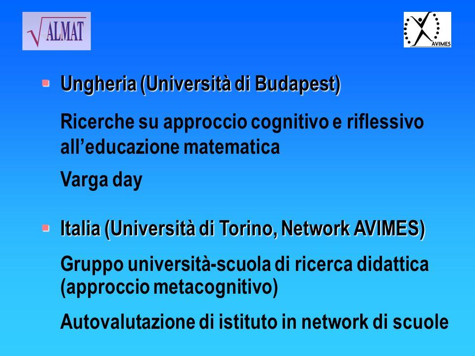 Ungheria (Università di Budapest) Ungheria (Università di Budapest) Ricerche su approccio cognitivo e riflessivo alleducazione matematica Varga day It