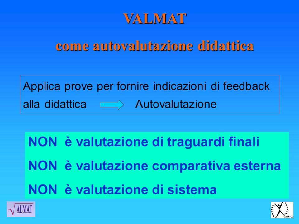 VALMAT come autovalutazione didattica Applica prove per fornire indicazioni di feedback alla didattica Autovalutazione NON è valutazione di traguardi